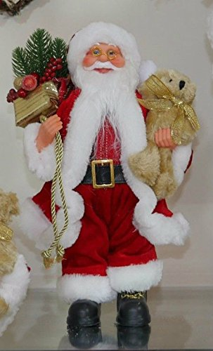 garden mile traditional luxury deluxe 30cm freestanding father christmas santa claus standing figure xmas decoration