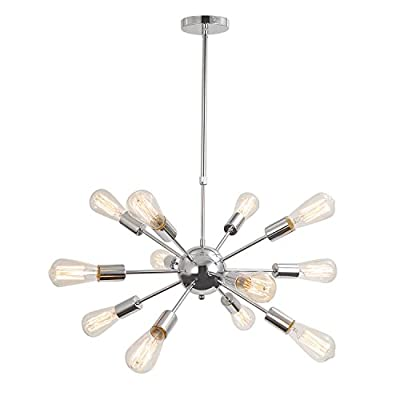 Unitary Brand Silvery Vintage Metal Hanging Ceiling Chandelier With 12 Lights Chrome Finish