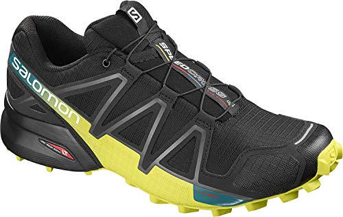 Salomon Men's Speedcross 4 Trail Runner, Black/Everglade/Sulphur, 9.5 M US
