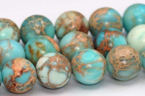 8mm Natural ICY Blue Sea Sediment Imperial Jasper Beads Round Loose Bead 15'' Crafting Key Chain Bracelet Necklace Jewelry Accessories Pendants
