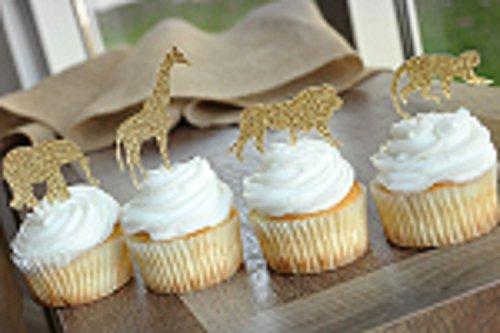 Bozoa (30 pcs) Gold Glitter Jungle Safari Animal Cupcake Toppers Picks Jungle Animals Cake Decorations for Jungle safari Animals Party Baby Showers Birthday Party by Bozoa (Image #3)'