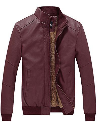 WenVen Men's Winter Fashion Faux Leather Jackets(Dark Red,US Size XL)