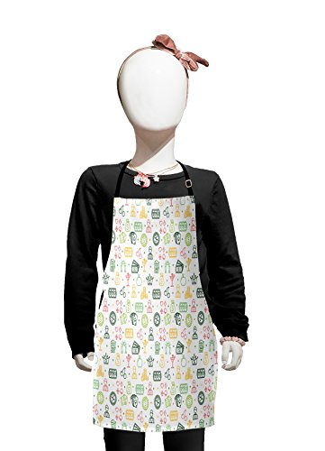 Lunarable Casino Kids Apron, Colorful Pattern with Gaming Gambling Design Elements Leisure Time Hobbies Poker, Boys Girls Apron Bib with Adjustable Ties for Cooking Baking and Painting, Multicolor -