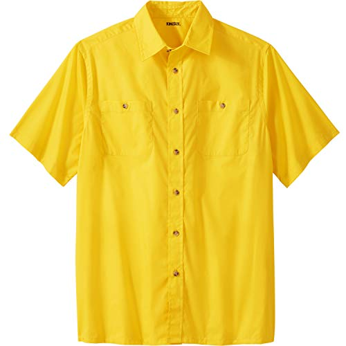 (KingSize Men's Big & Tall Short Sleeve Solid Sport Shirt, Cyber Yellow Big-3XL)