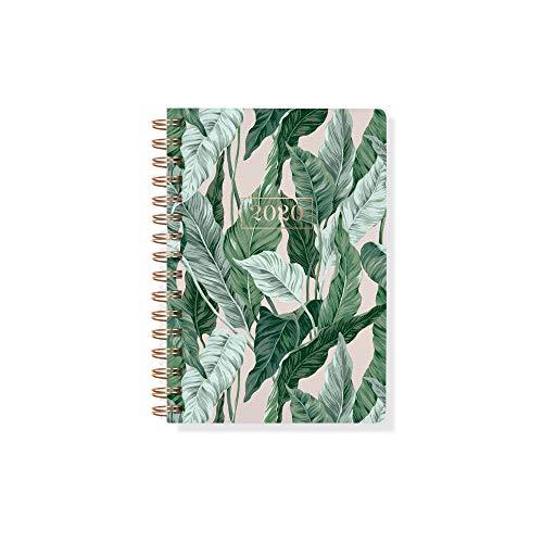 Fringe Vegan Leather Spiral 17 Month Dated Planner (Aug 2019 - Dec 2020), 5.75 x 8.25 Inches, Banana Leaf (113007)