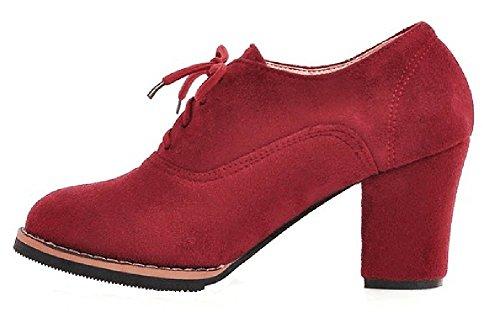 Easemax Moda Para Mujer De Punta Redonda Con Cordones De Tacón Alto Botines De Tacón Rojo