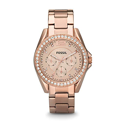 Fossil Women's Riley Quartz Stainless Steel Chronograph Watch, Color: Rose Gold (Model: ES2811)