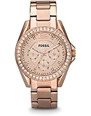 Fossil Women's Riley Stainless Steel Chronograph Glitz Quartz Watch