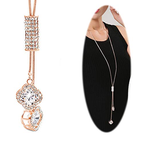 Crystal Long Necklace for Women Lucky Chain Rhinestone Pendant Tassel Girls Fashion Charm Accessories Rose Gold
