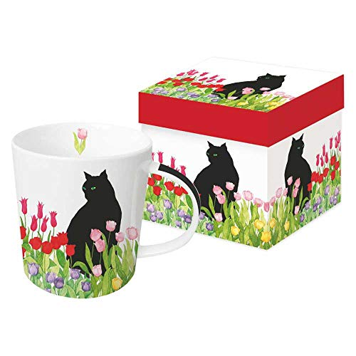 Paperproducts Design 28211 Black Cat Tulips Design Gift Boxed Mug, Multicolor