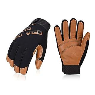 Vgo 3-Pairs -4℉ or above 3M Thinsulate C100 Winter Warm Waterproof Light Duty Mechanic Glove, High Dexterity, Anti-abrasion, Rigger Glove (Size M, Brown, GA9603)
