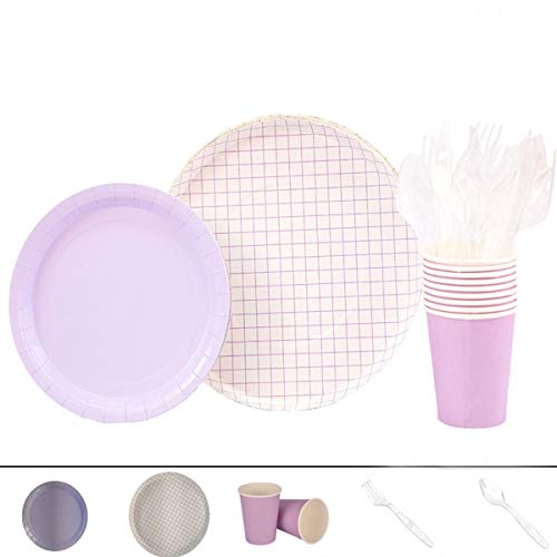Xinxiya Party Printing Monochrome Vintage Squares Lilac Desktop Furnishings Paper Plates Cups Knives Spoons Disposable Tableware For 8 People