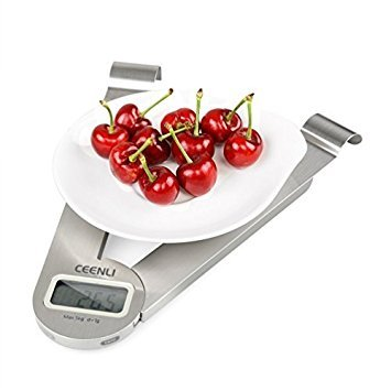 CEENLI Digital Kitchen Folding Scale Multifunction Food Scale, 11 lb 5 kg, Silver, Stainless Steel (1g/0.05oz/1ml) (Joseph Joseph Triscale Compact Folding Digital Scale)