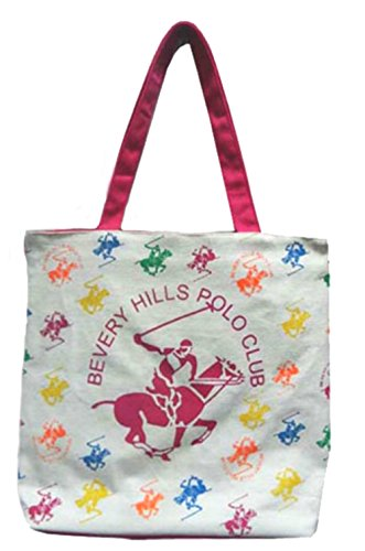 Beverly Hills Polo Club Canvas Tote Bag Fashion Zippered Shoulder Bag Double Handles Straps - Shopping Beverly Hill