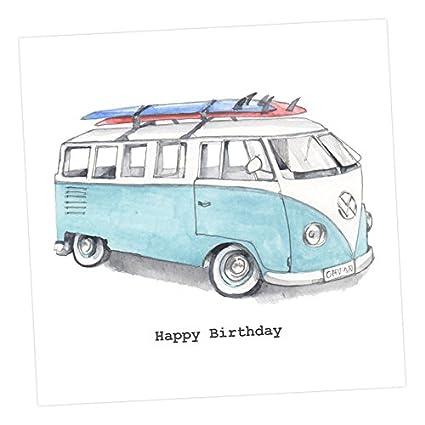 Tarjeta de felicitación – feliz cumpleaños furgoneta CC126, adornada de acuarela, elegante, tarjeta