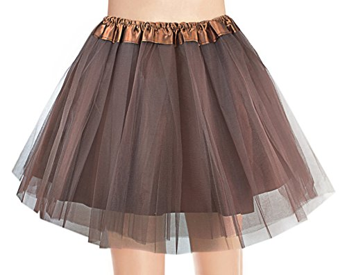 V28 Women's, Teen, Adult Classic Elastic 3, 4, 5 Layered Tulle Tutu Skirt (One Size, 4Layer-Brown)