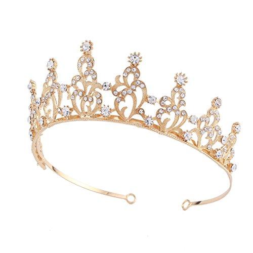 Santfe Bridal Wedding Prom Rhinestone Crystal Crown Hairband Headband Tiara Hair Jewelry for Womens Girls (Gold-2)