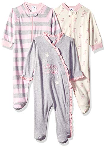Gerber Baby Girls' 3-Pack Organic Sleep 'N Play, Bunny Star, 6-9 Months