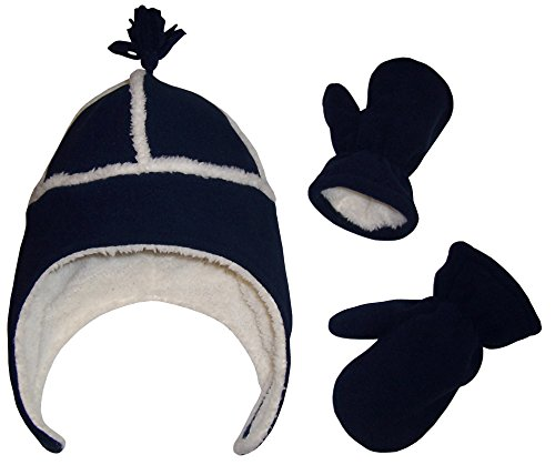 N'Ice Caps Little Boys and Baby Sherpa Lined Micro Fleece Pilot Hat Mitten Set (Navy 3, 4-7 Years)