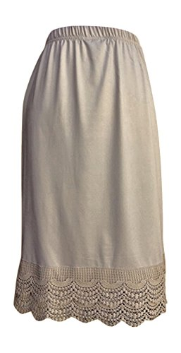 Lucky Love Dress and Skirt Extender with Lace Trim (Small, Natural Scallop ()