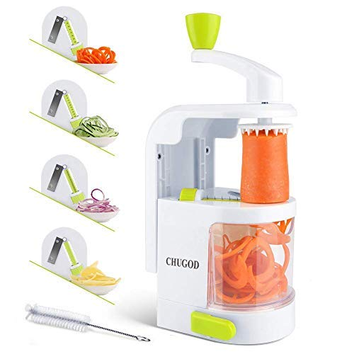 New 4-in-1 Vertical Vegetable Slicer, Rotating Adjustable Blades, Heavy Duty Veggie Spiralizer with Strong Suction Cup, for Low Carb,Paleo,Gluten-Free Meals (Free Cleaning Brush)