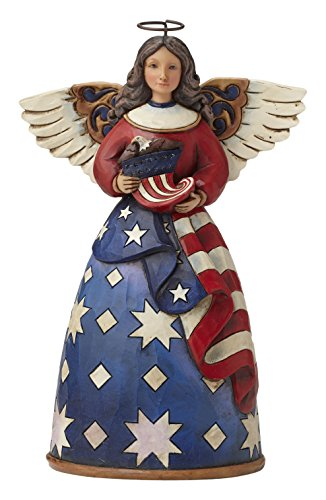"Jim Shore Heartwood Creek Patriotic Angel in Flag Dress Stone Resin Figurine, 6"" ()"