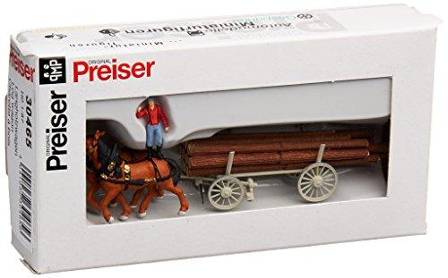 Ho Log - Preiser 30465 Horse Drawn Wagon Log Wagon w/Driver & Load HO Scale Vehicles Model Figure