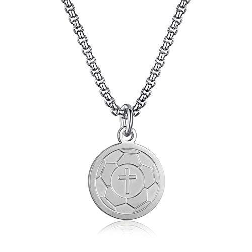 INRENG Athletes Sports Cross Pendant Necklace for Men Women Faith Prayer Inspiring Luke 1:37 Bible Verse on Back Soccer Charm Silver ()