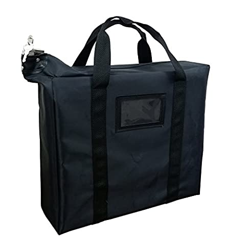 Briefcase Style Locking Document Bag (Black) - Locking Security Bags