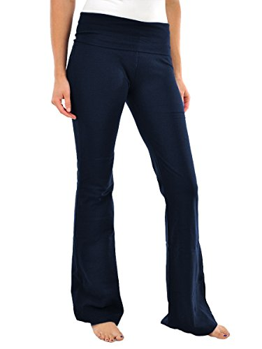 Viosi Women's Fold Over Cotton Spandex Lounge Yoga Pants (Large, Navy)