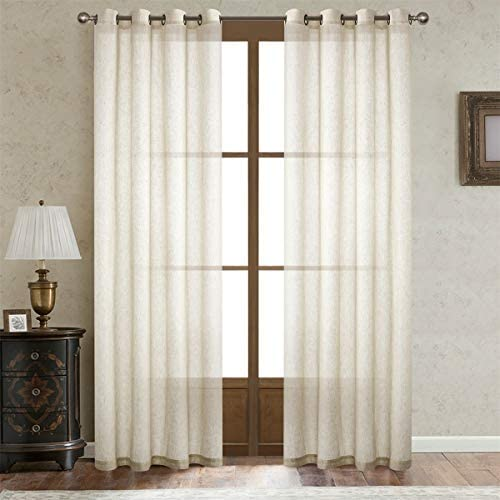 Dreaming Casa Natural Linen Sheer Curtains for Bedroom Solid Semi Sheer Grommet Top Two Panels for Living Room 2 Panels 100 W x 96 L