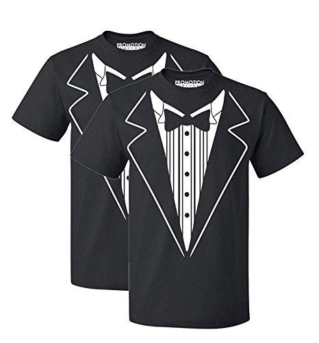 P&B Tuxedo White Funny Men's T-Shirt, L, Black (Set of 2)