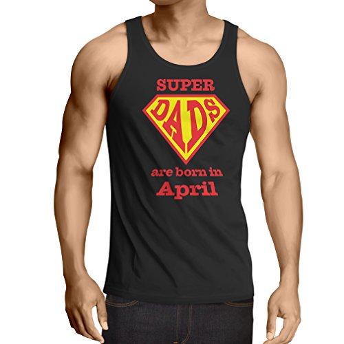 Vest Super Dads Are Born In April Anniversary Gifts him (Medium Black Multi Color)