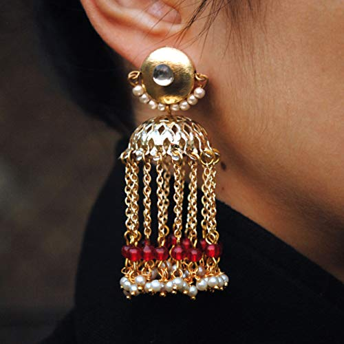 Abhika Creations Golden Kundan Stud WIth Dangling Jhumki With Red And White Beads Traditional Indian Designer Bollywood Style Earrings ()