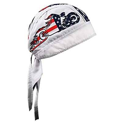 Hot Leathers American Bike Head Wrap (White): Automotive