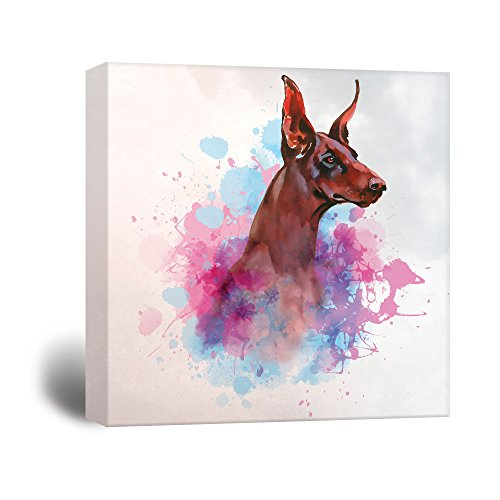 Square Dog Series A Dobermann Painting with Color Splash Background