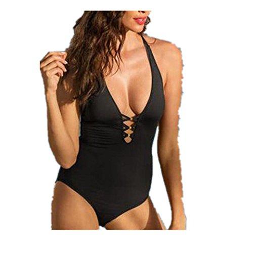Bekleidung Longra Damen Bikini Bandage hoher Taille Badeanzug ein Stück Strand Bademode Black z0NClkF9