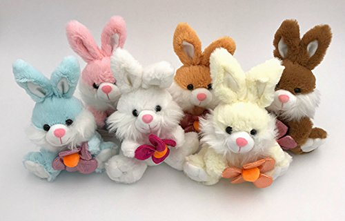 - Set of 6: Fluffy Plush Bunny Rabbits: Blue, Pink, White, Tan, Cream, Brown
