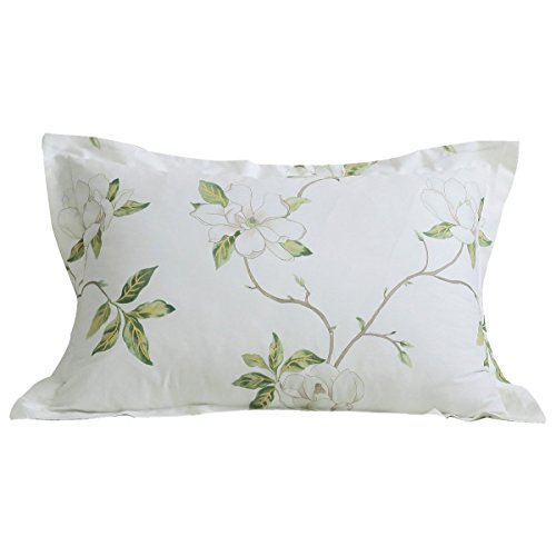 Print Green Floral (FADFAY Cotton Decorative Pillowcase White Floral Print Pattern Pillow Covers, 2 Pcs(Green))