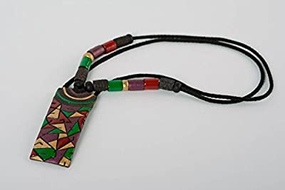 Handcrafted Rectangular Pendant Made Of Clay With Colored Enamel Paintings