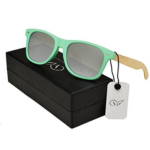 WOODCGM Brand Chloe Sunglasses Women 2016 Polarized Mirror Lenses Plastic Frame With Bamboo Temple (Green, - Round Frame Sunglasses Chloe