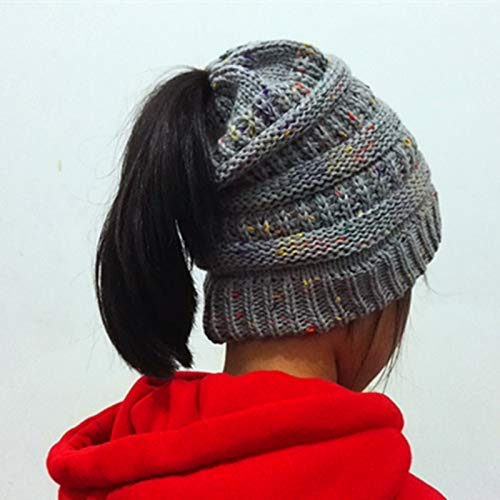 Knitted hat, Point Yarn, Woolen Cap, Exposed Horsetail Cap (Color : Light Grey) Very Soft (Color : Light Grey) by Kinue