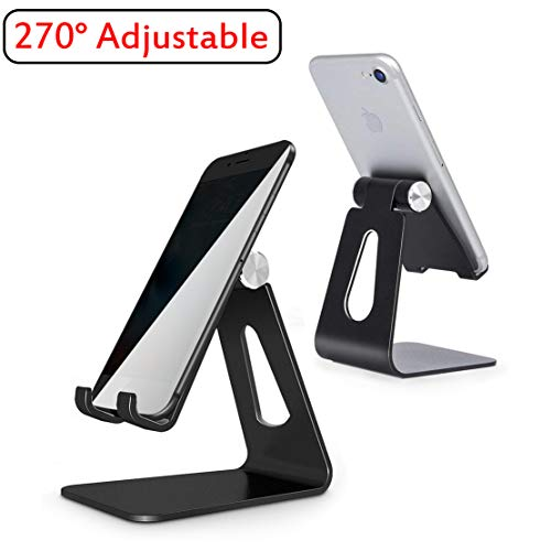 Adjustable Cell Phone Stand Phone Stand Cradle Dock Holder Aluminum Desktop Stand Compatible All Android with iPhone Xs Max Xr 8 7 6 6s Plus 5s Charging Accessories Desk All Smart Phone-Black