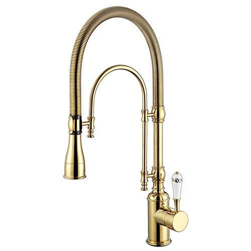 gold Kunmai High Arc Swirling Dual-Mode Pull-Down Kitchen Faucet with Porcelain Handle (gold&Chrome)