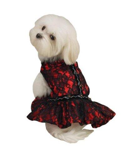 Dog Dress - Red with Black Lace Flamenco Dog Dress - X-Small - (XS) by Zack & Zoey
