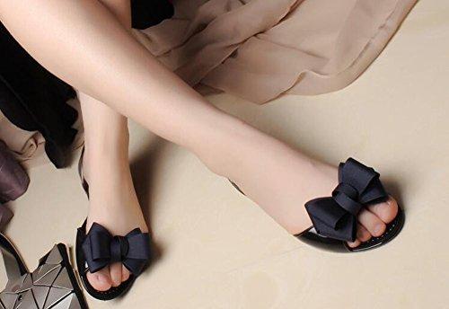 Minetom Mujer Verano Casual Zapatos Bowknot Redondos Planos De Ballet Conducción Fondo Suave Cómodos Fisos Flats con Puntera Abierta Bailarinas Shoes Azul