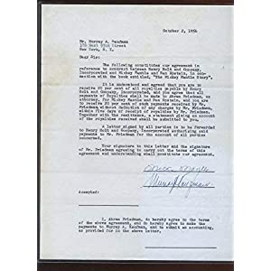 1956 MIckey Mantle Signed The Mickey Mantle Story Contract PSA LOA MLB Cut Signatures