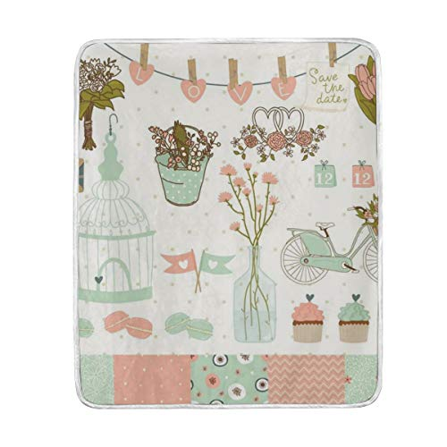 Amazon.com: CIXUAN Love Flowers Pots Birdcage Print Throw ...