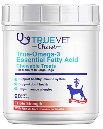 True-Omega-3 Essential Fatty Acid Chewable Treats for Dogs - All Natural Fish Oil Pet Food Supplement - Shiny Coats & Healthy Skin - Bone, Joint & Brain Support (MED/LG - 31-60 lbs (90 ct)) -