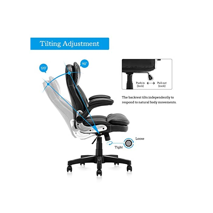 415sZUuq 5L Diseño ergonómico: el diseño del soporte lumbar y el reposacabezas de apoyo proporcionan un apoyo cómodo. Nuestro sillón te ofrece una gran comodidad elástica y un fuerte soporte de espalda. Alivia y reduce eficazmente el dolor de espalda Uso universal: nuestra silla clásica de cuero se adapta a varios tipos de oficina. El sillón de cuero tiene almohadillas de cojín y cojín de cuero acolchado negro, te hacen sentir cómodo y lleno de fuerza todo el día Cumple con las normas BIFMA: la funda de piel sintética respetuosa con el medio ambiente garantiza un uso a largo plazo. El elevador de gas y los reposabrazos cumplen con las normas BIFMA. Base de acero de cinco estrellas con un diámetro de 70 cm, garantiza una estabilidad general y muy robusta y duradera. Capacidad de peso de hasta 127 kg